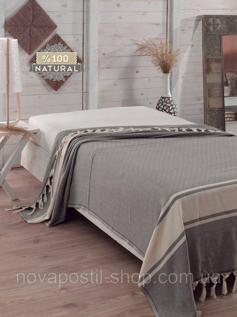 Хлопковое покрывало  Eponj Home 200*240 ELMAS ANTRASIT