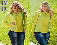 Элегантная блузка из гипюра и штапеля оливкового цвета