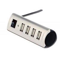 Концентратор Digitus Ednet ECO USB 2.0_ Mobile Hub_ 4 порта_ активный с БП_ Silver (85021)