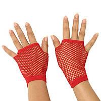 Красные короткие перчатки в сетку