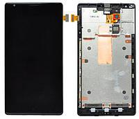 Дисплей (экран) + сенсор (тач скрин) NOKIA Lumia 1520 black с рамкой (оригинал)