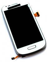 Дисплей (экран) + сенсор (тач скрин) SAMSUNG Galaxy S3 mini (I8190) white с рамкой (оригинал)