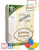 Mate Factor Чай травяной Organic Functional Herbal Blends, Ginger Turmeric with Black Pepper, 20 пакетиков, 70 г