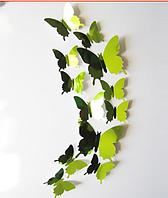 """Наклейка на стену, пластиковые наклейки, украшения стены наклейки """"бабочки салатовые зеркальные 12шт набор"""""""