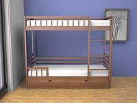 Кровать двухъярусная Ультра 90х200 с ящиками