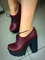 Туфель шнурок на толстом каблуке. Натуральная кожа.  Размер: 36-40 АР 31051