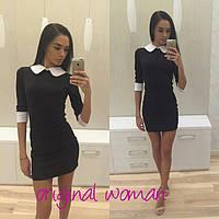 Красивое платье белый воротник и манжеты НОВ-08.018