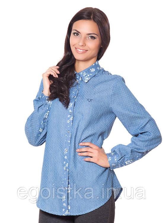Молодёжная женская джинсовая  рубашка, фото 1