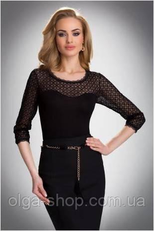 Блузка, кофточка женская черная прозрачная с длинным рукавом Eldar ISADORA офисная классическая одежда