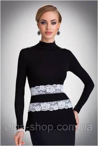 Блузка, кофточка женская черная с длинным рукавом Eldar LUCRECIA офисная классическая одежда