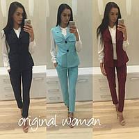 Стильный костюм жилет +брюки, расцветки