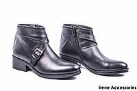 Ботинки женские кожаные Aquamarine (ботильоны низкие, байка)