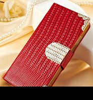 Роскошный чехол-книжка для iPhone 5 5S красный