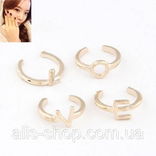 Кольца на фаланги пальцев LOVE в золоте