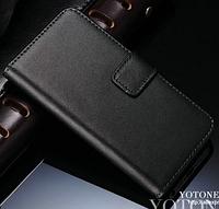 Кожаный чехол-книжка для iPhone 5 5S черный