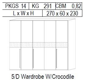 Шкаф 5 дверей отделка кож зам croco