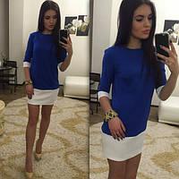 Женское платье двухцветное прямого покроя 3 цвета
