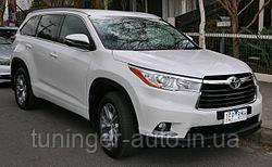 Ветровики с хромом, дефлекторы окон Toyota Highlander 2014-