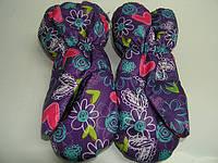 Краги на меху фиолетовые сердечки, фото 1