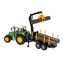 Игрушечные машинки и техника «Dickie Toys» (3474601) трактор с прицепом, 42 см (зелёный с перевозчиком брёвен)