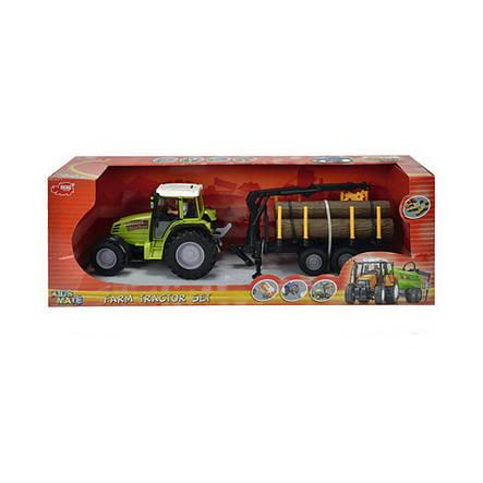 Трактор с прицепом, 42 см (зелёный с перевозчиком брёвен) «Dickie Toys» (3474601), фото 2
