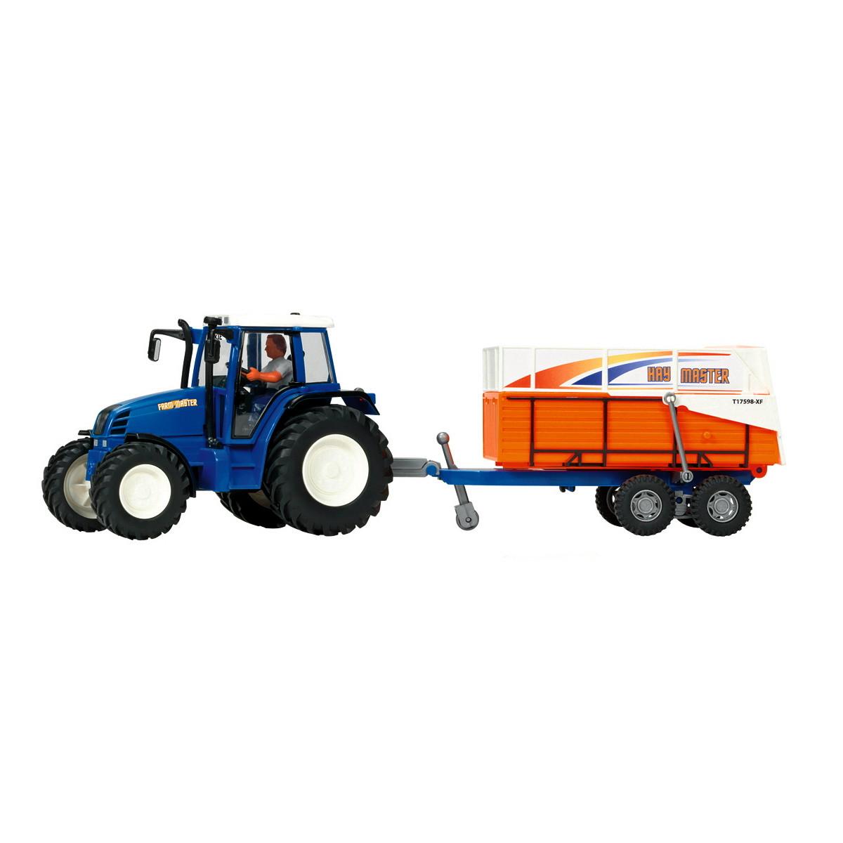 Трактор с прицепом, 42 см (синий с прицепом для транспортировки животных) «Dickie Toys» (3474601)