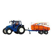 Игрушечные машинки и техника «Dickie Toys» (3474601) трактор с прицепом, 42 см (синий с прицепом для транспортировки животных)