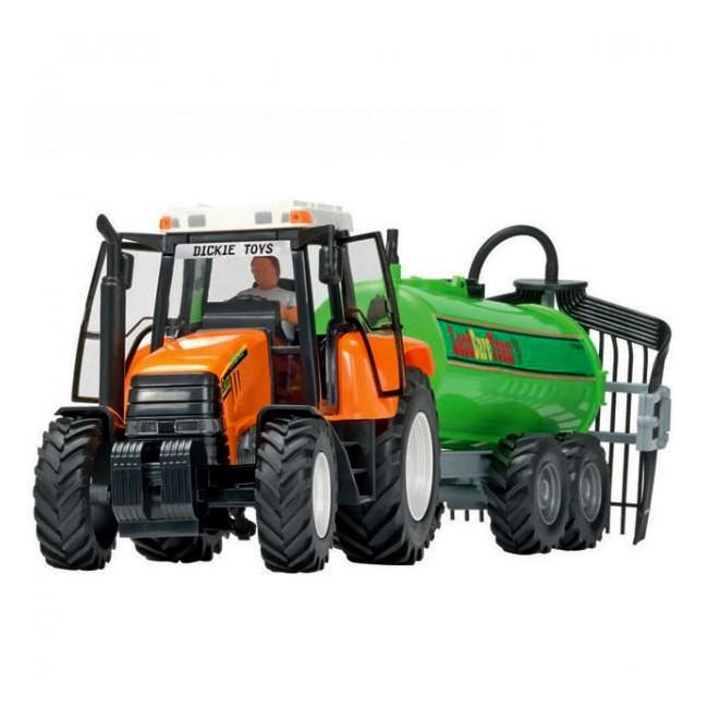 Трактор с прицепом, 42 см (оранжевый с цистерной) «Dickie Toys» (3474601)