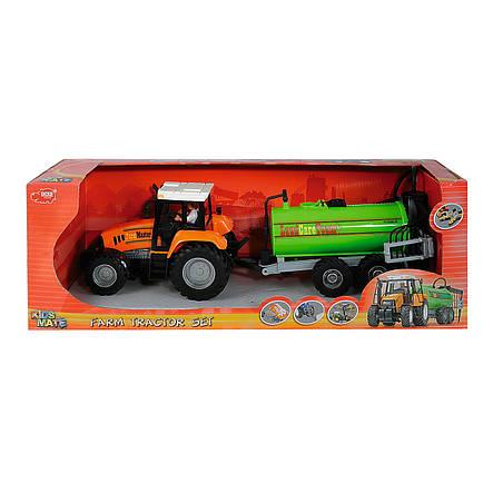 Трактор с прицепом, 42 см (оранжевый с цистерной) «Dickie Toys» (3474601), фото 2
