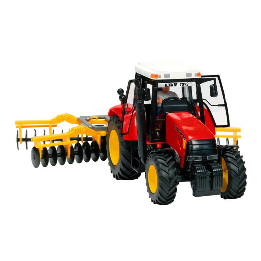 Трактор с прицепом, 42 см (красный с культиватором) «Dickie Toys» (3474601)