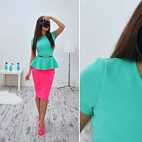 Женский костюм: юбка + блузка с баской и поясом, S