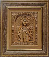 Икона деревянная резная Святой Мученицы Татьяны (Татианы) с ажурной рамкой
