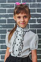 Блузка для девочки школьная белая в горошек