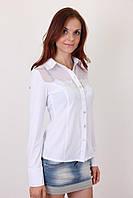 Белая рубашка в деловом стиле на пуговицах, размер: S\M, M/XL