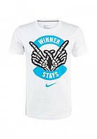 Брендовая футболка Nike, найк, белая, спортивная, стильная, большое лого, хлопок, КП16