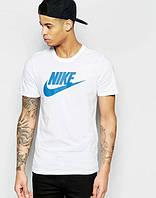 Брендовая футболка Nike, найк, белая, спортивная, синее лого, молодежная, стильная, трикотаж, КП41