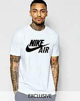 Брендовая футболка Nike, найк, белая, спортивная, стильная, черное лого, молодежная, КП44