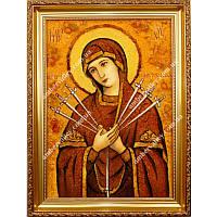 Икона из янтаря Семистрельная Божья Матерь