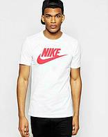 Брендовая футболка Nike, найк, белая, спортивная, стильная, красное лого, молодежная, трикотаж, КП46