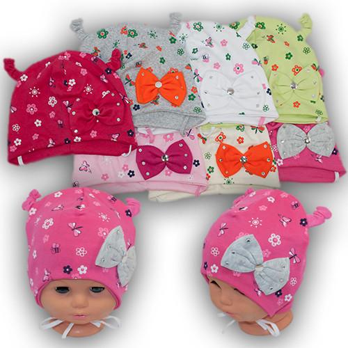 Трикотажная шапка на завязках для малышей, 16-150