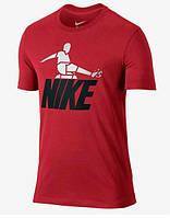Брендовая футболка Nike, найк, красная, в наличии, мужская, трикотажная, стильная, КП78