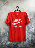 Брендовая футболка Nike, найк, красная, мужская, летняя, трикотаж, белое лого, КП91