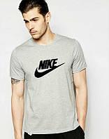 Брендовая футболка Nike, найк, серая, мужская, летняя, трикотаж, черное лого, КП115