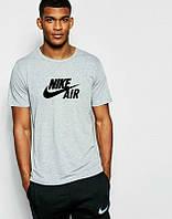 Брендовая футболка Nike, найк, серая, мужская, летняя, трикотаж, молодежная, КП116