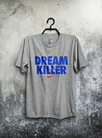 Брендовая футболка Nike, найк, серая, мужская, синее лого, летняя, хб, стильная, КП131