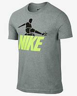 Брендовая футболка Nike, найк, серая, мужская, цветное лого, летняя, хб, стильная, КП132