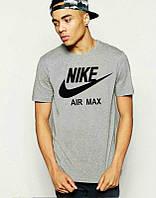 Брендовая футболка Nike, найк, серая, мужская, летняя, хлопковая, стильная, КП137