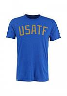 Брендовая футболка Nike, найк, синяя, мужская, летняя, цветное лого, хб, КП160