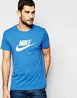 Брендовая футболка Nike, найк, синяя, белое лого, мужская, летняя, хб, КП167