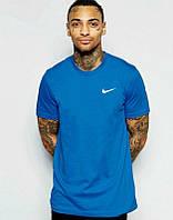Брендовая футболка Nike, найк, синяя, мелкое лого, мужская, летняя, хлопок, КП173